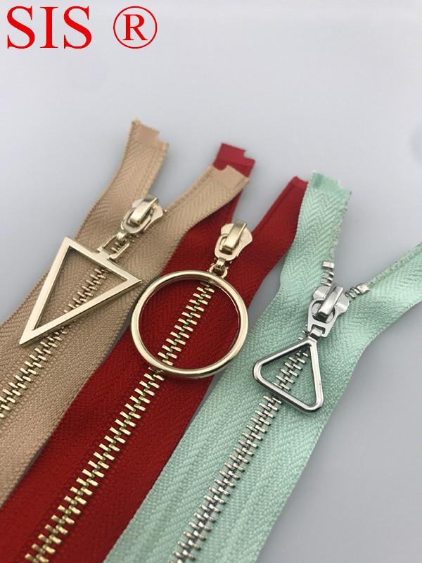 EU self-locking metal zipper, various zipper pulls, clothing accessories, open-end zipper