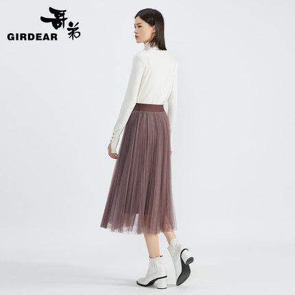 váy  Brother 2021 tân xuân eo cao thun lưng trung dài xếp ly chân váy lady A200104