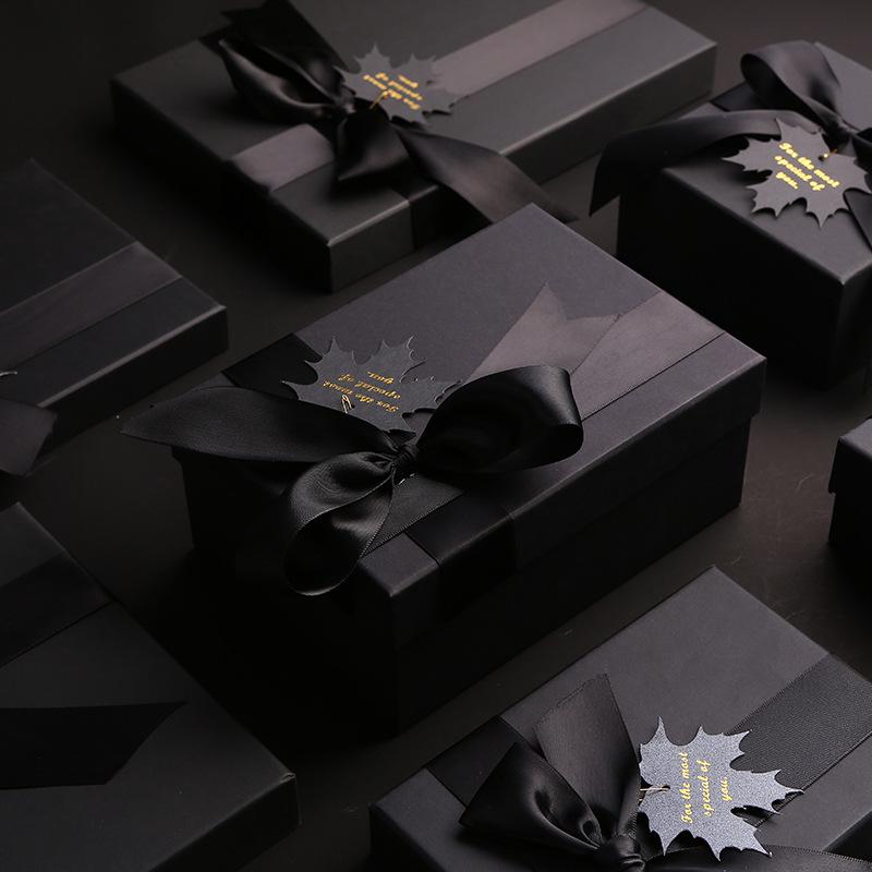 SHENGCHONG Mother's day black gift box Tiandi cover lipstick flower tea gift box bow packaging gift