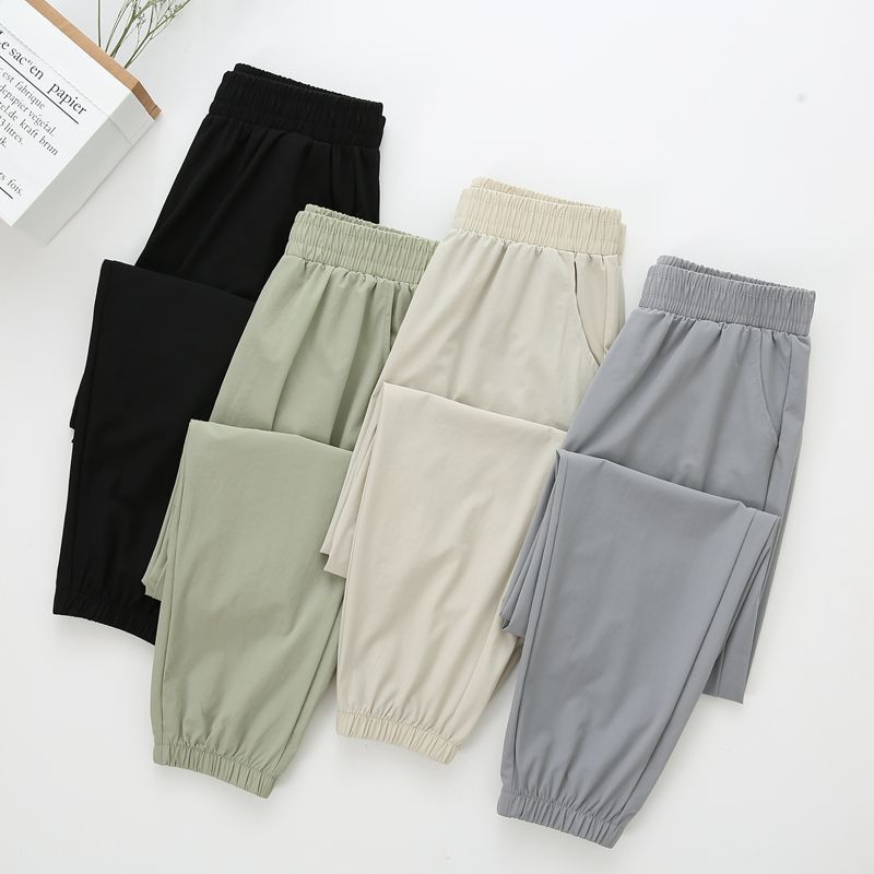 Ice silk sports pants women's quick-drying pants summer thin section 2021 new breathable loose feet