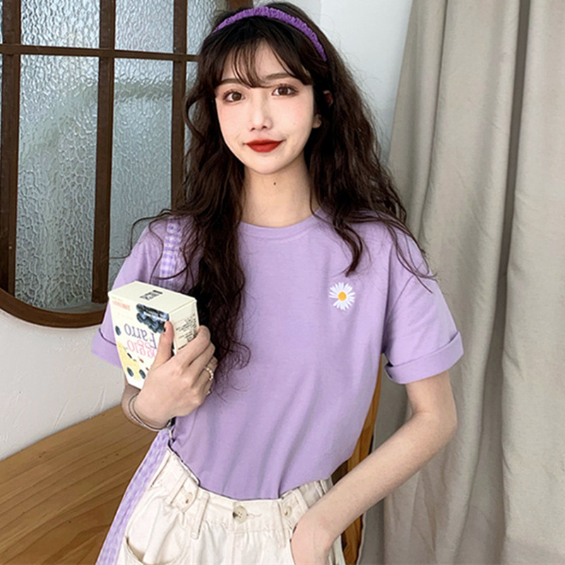 Chrysanthemum embroidery craft t-shirt women Dongdaemun new women's campus style loose blouse small
