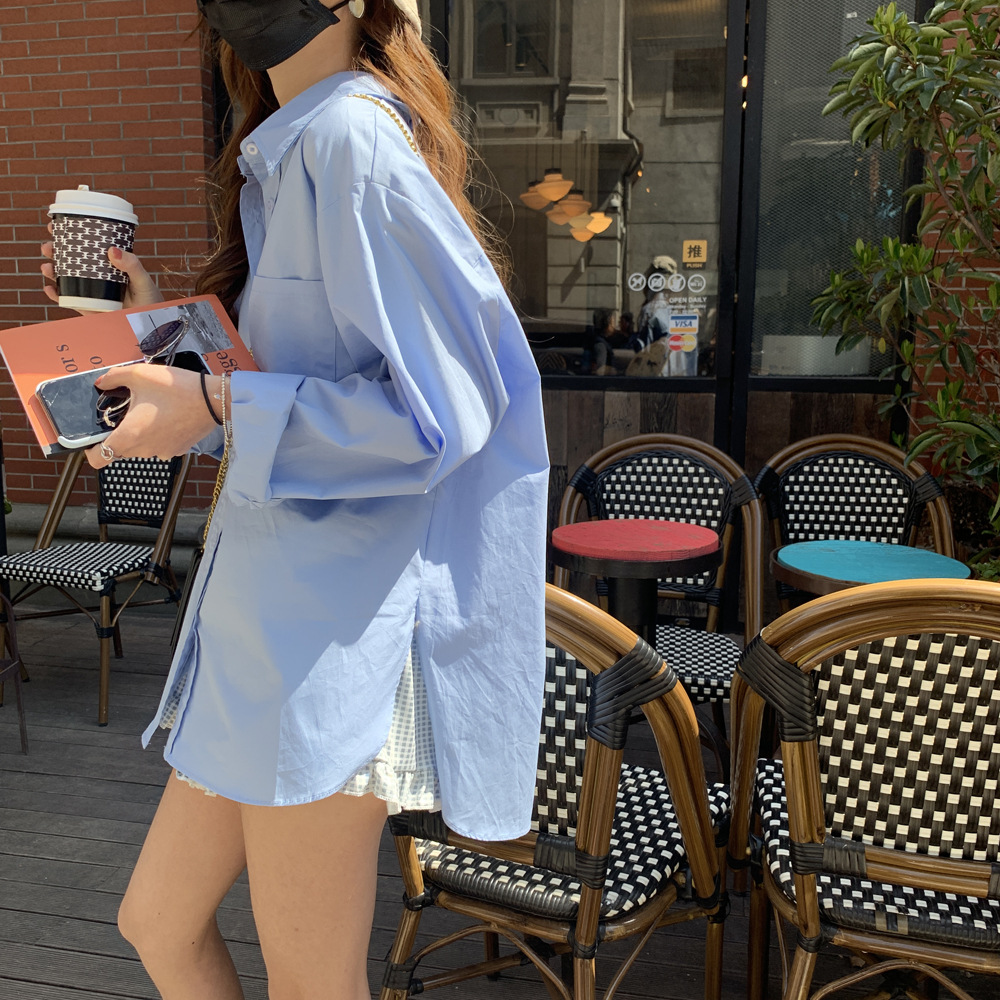 Fashion loose blue shirt women 2021 spring and summer new Korean style design sense niche all-match
