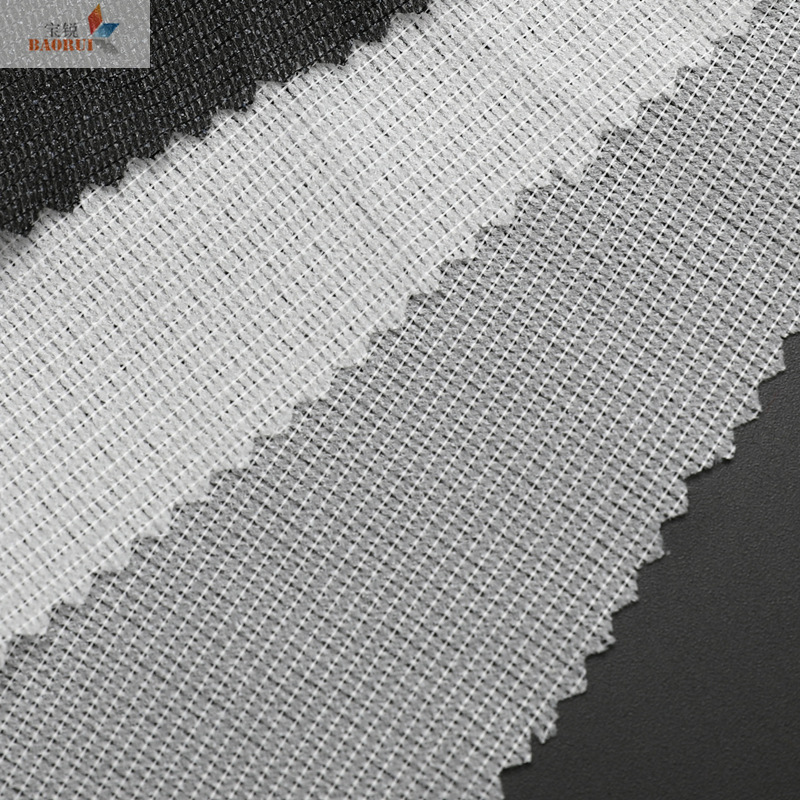 BAORUI High-quality hot-selling warp-knitted interlining with spun interlining, fusible interlining,