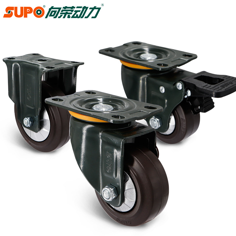Xiangrong caster SUPO rubber wheel 2.5 inch 3 inch 4 inch universal wheel with brake heavy duty cast