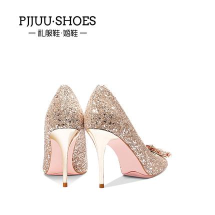pjjuu Giày cô dâu  pha lê giày cô dâu giày cưới phụ nữ gót nhọn tất cả các trận đấu rhinestone khóa