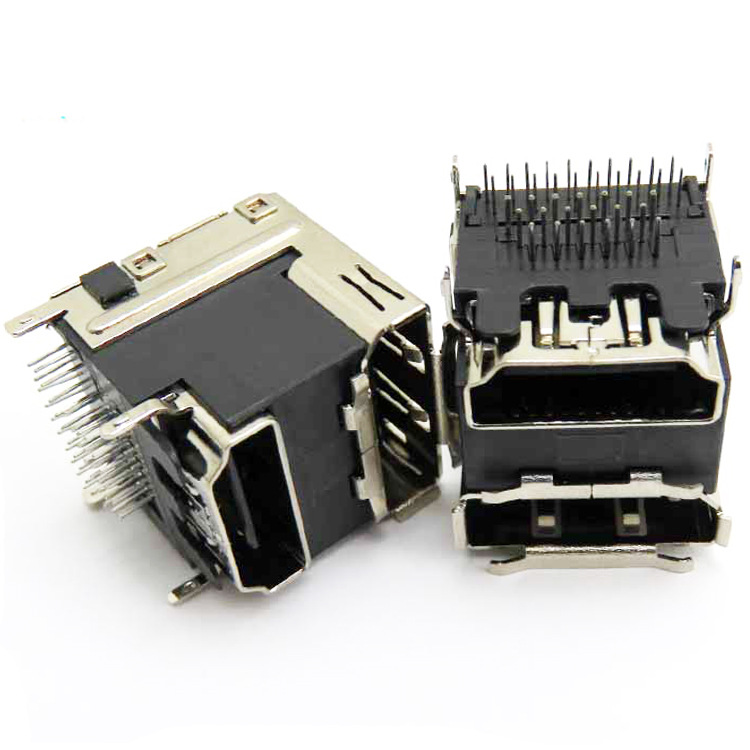 39pin iron shell nickel-plated dip vertical 180 degree female double-layer HDMI+DP connector female