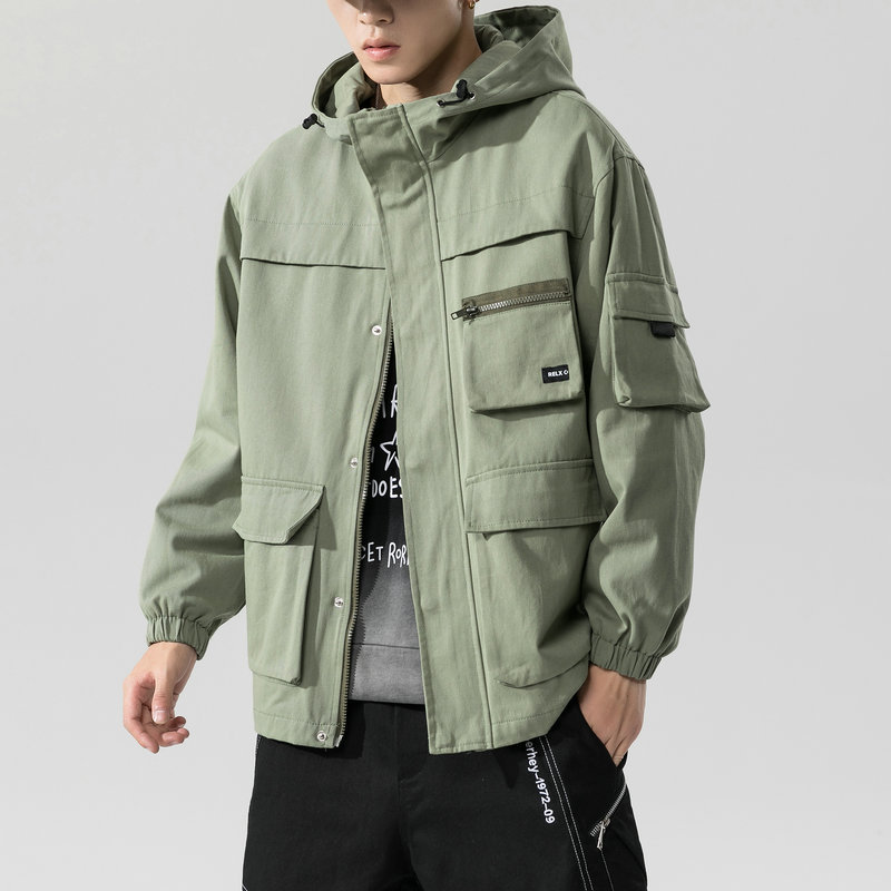 2021 Spring and Autumn New Hooded Workwear Jacket Men's Trend Loose Casual Japanese Tide Brand bf H