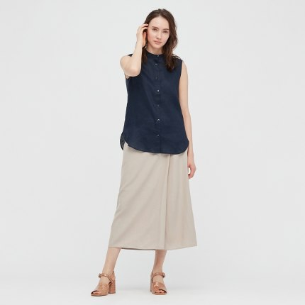 Uniqlo váy  nữ vải lanh pha trộn váy bó (nửa váy) 437119 UNIQLO