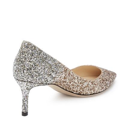 Jimmy Giày cô dâu  Choo / Zhou Yangjie vàng và bạc pha trộn màu Romy 60 long lanh miệng cạn giày cao