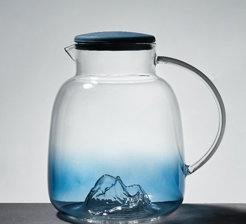 Creative iceberg glass cold water bottle household water bottle heat-resistant explosion-proof high