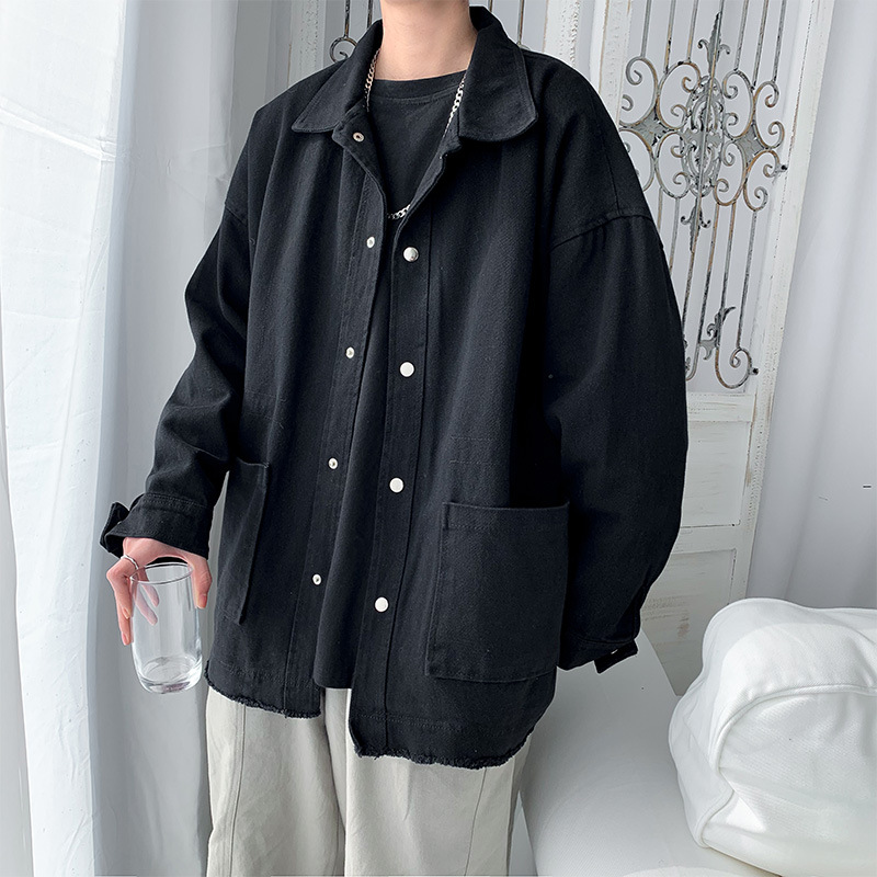 Spring tide brand ins loose solid color functional tooling jacket male trend Korean student retro bf