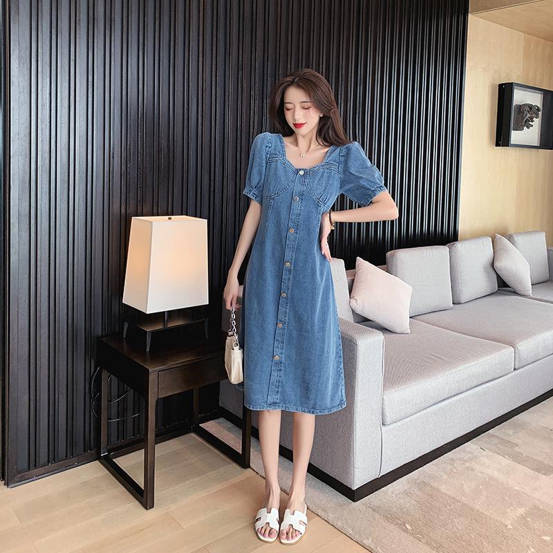 2021 plus size women's denim dress female summer waist temperament goddess fan high waist a-line sk