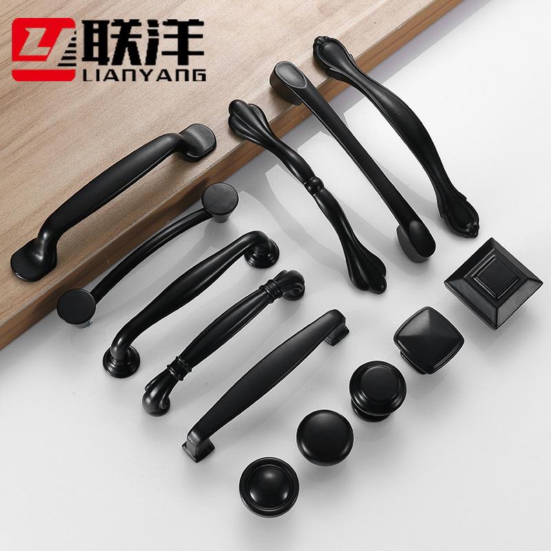 Black zinc alloy wardrobe door handle modern minimalist cabinet drawer handle shoe cabinet single ho