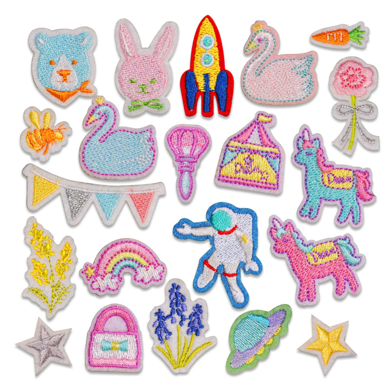 YUANDA Embroidery cloth stickers cartoon animal self-adhesive accessories computer embroidery appliq