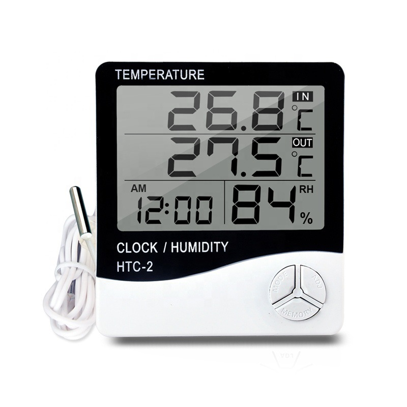 HTC-2 indoor backlit electronic instrument desktop digital display wall-mounted thermometer and hygr