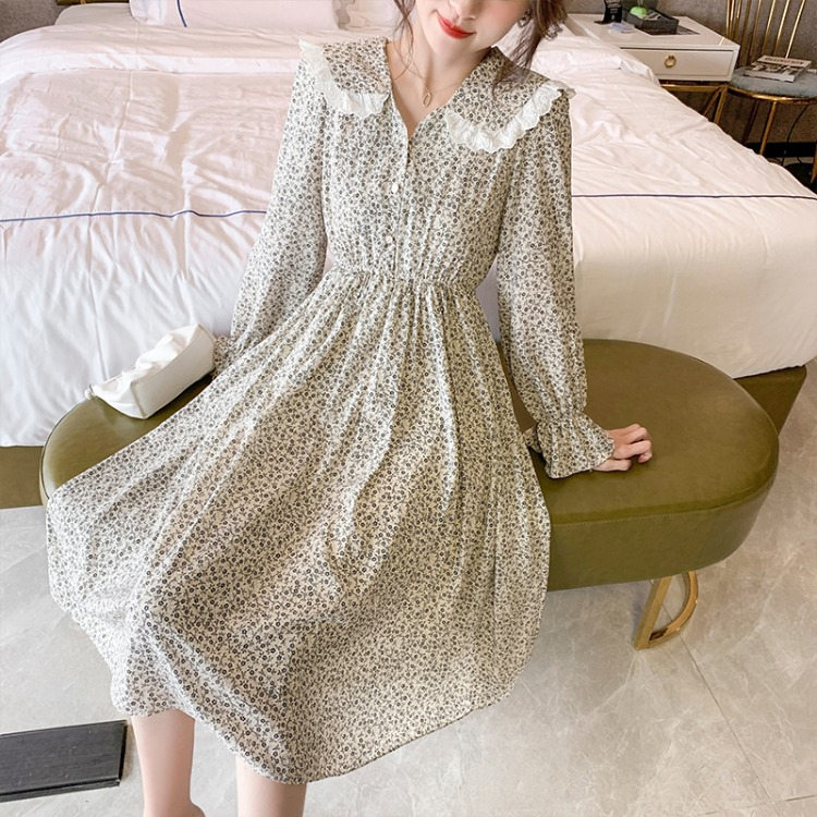 Spring women's 2021 new French chic skirt chiffon floral doll collar mid-length dress women