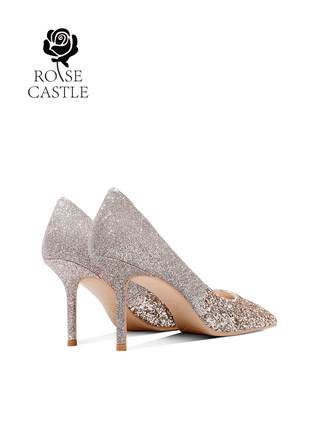 Giày cô dâu  Store the same paragraph] hoa hồng lâu đài giày cao gót cô dâu giày đơn nữ giày cưới và