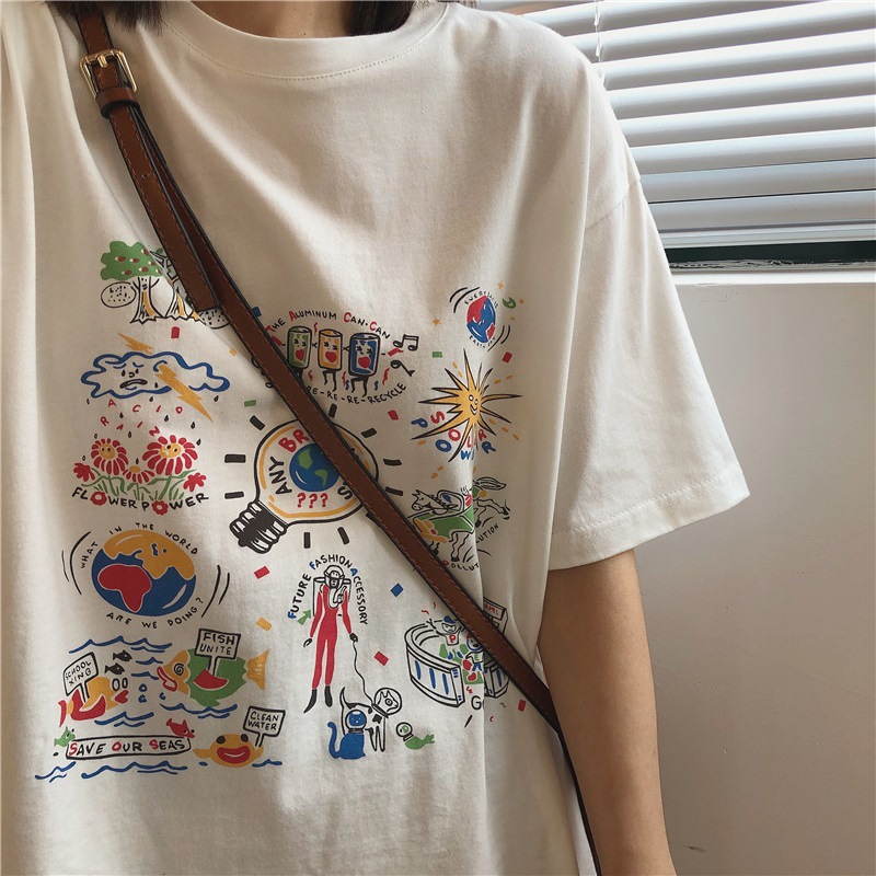 White T-shirt women's short-sleeved summer 2021 Korean version of ins tide top loose students were