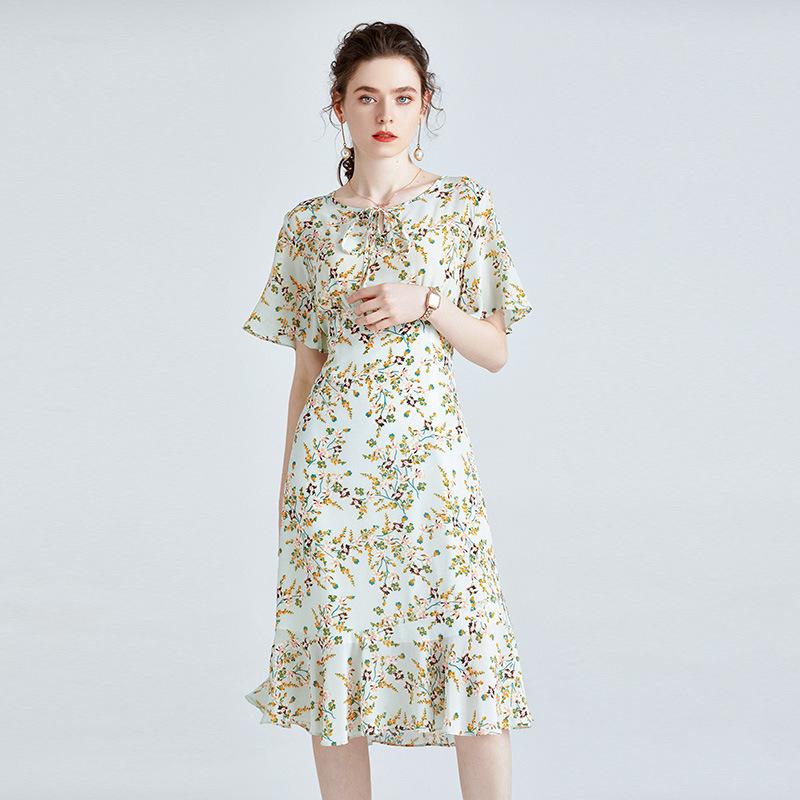 FANSIZHE Silk dress 100 mulberry silk high-end print short-sleeved small fresh French summer dress w