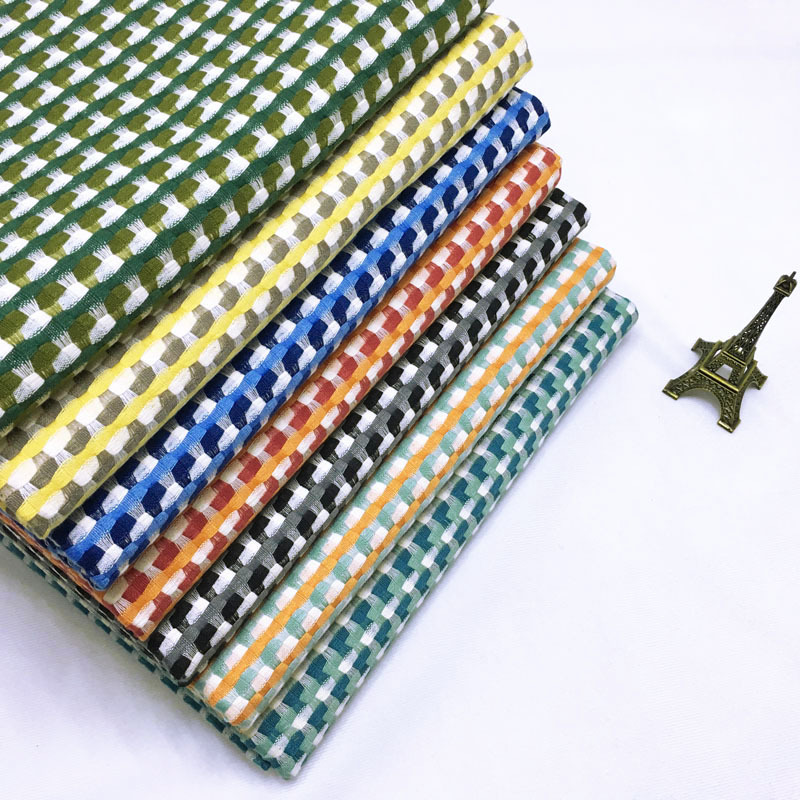 Cotton and linen plaid fabric Yarn-dyed thick colored plaid fabric Decorative cloth Pillowcase jacqu