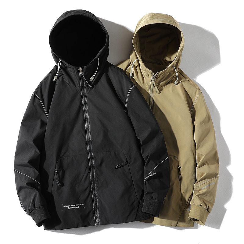 Urban men's clothing | 2021 spring and autumn Korean version of the new hooded solid color men's j