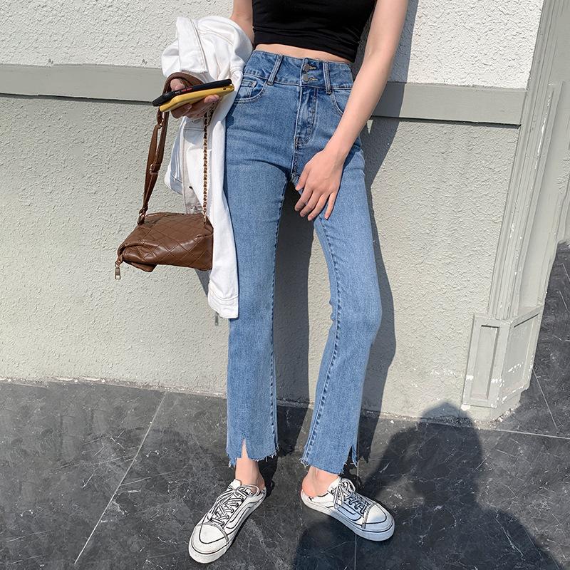 CHD micro-laden jeans women 2021 spring high waist Korean version of the new slim nine-point micro-f