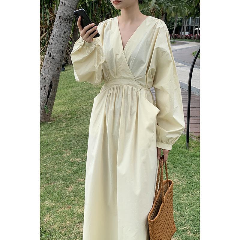 Korean style loose casual high waist pocket skirt 2021 spring new temperament V-neck dress women