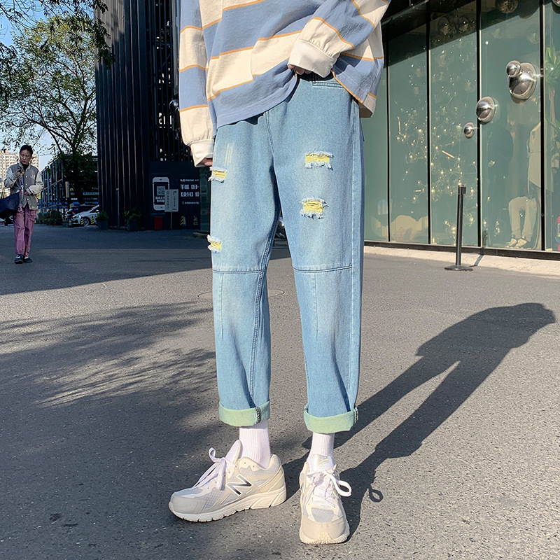 Spring and summer loose straight-leg Hong Kong style jeans men's trend all-match casual pants Korea