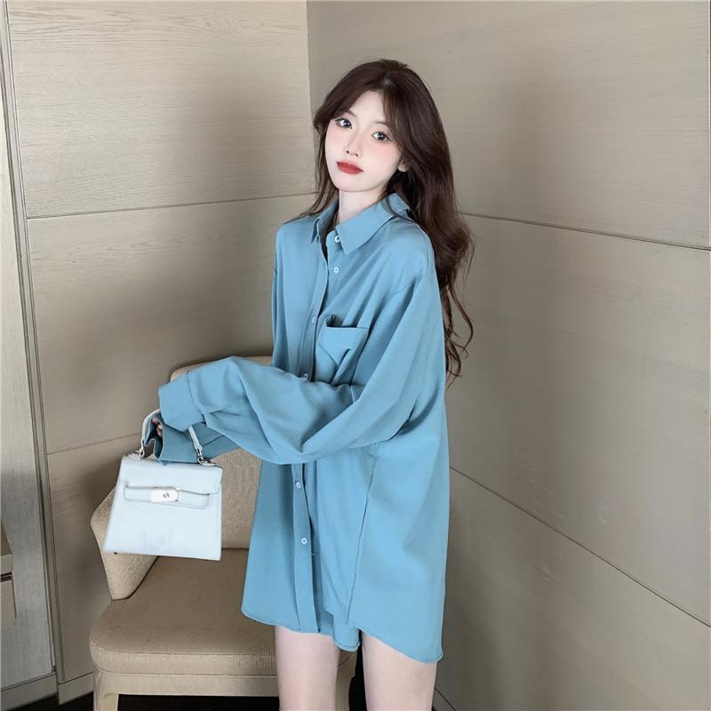 Women's 2021 new spring lazy wind sunscreen shirt women's thin outer wear long-sleeved drape loose