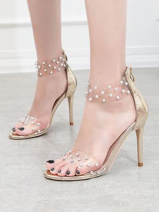 Giày GuangDong Giày cao gót có giác dây kéo sau Quảng Đông nữ thiết kế cổ tích lưới váy màu đỏ dép H