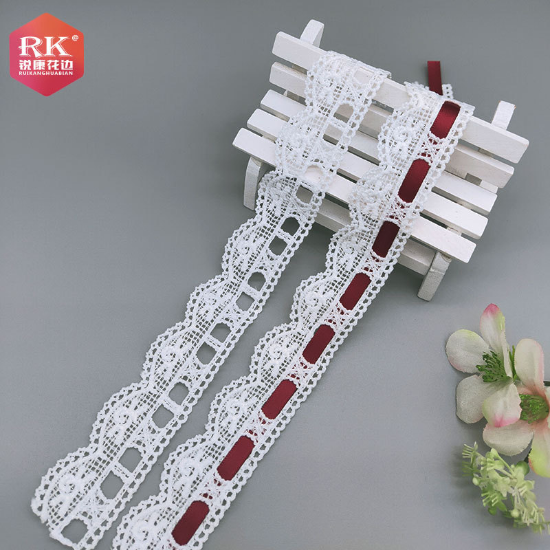 RUIKANG Hollow unilateral 3cm milk silk water-soluble embroidery lace Polyester lace lace gift cloth