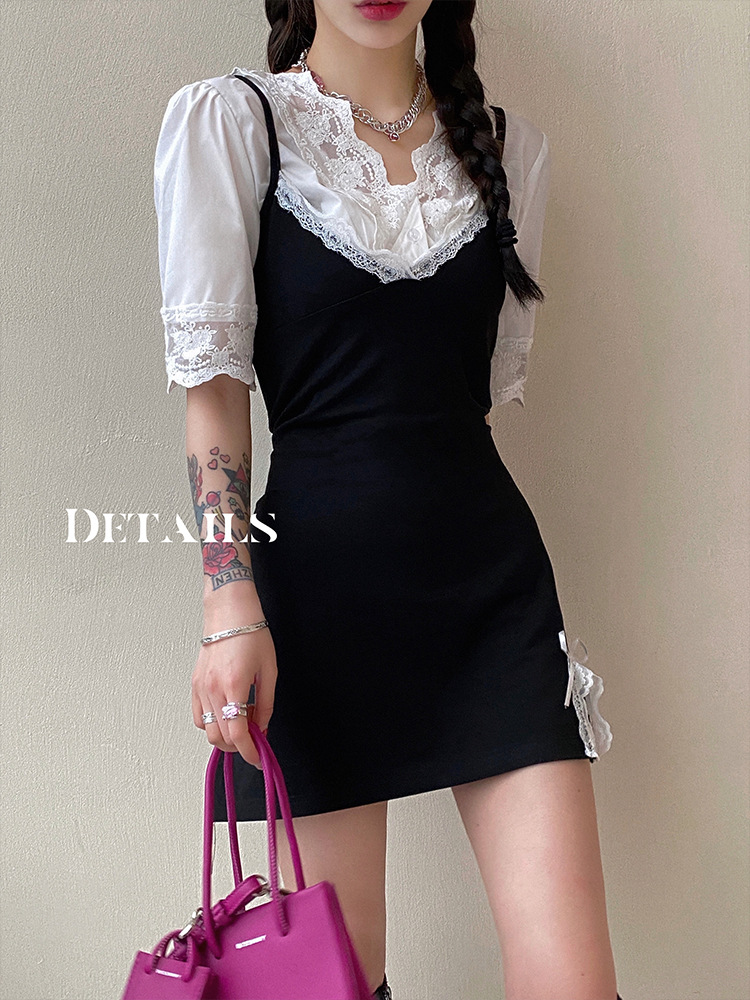 Aunt Barbie 2021 Spring New Product Slim V-neck Sling Dress Women's Internal Wear + Lace Top Two-pi