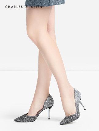 CHARLES & KEITH  Giày cô dâu  giày đơn CK1-60580071 giày cưới nữ cao gót pha lê mũi nhọn