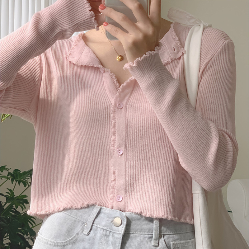 Korea chic autumn small fresh and lovely petal edge pit strip short knit cardigan long-sleeved thin