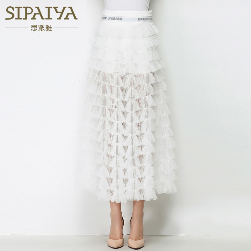 2021 spring new perspective skirt solid color cake dress 13 lines A-line skirt