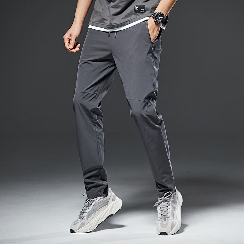 New ice silk pants men's loose straight casual pants spring and summer thin quick-drying trousers b