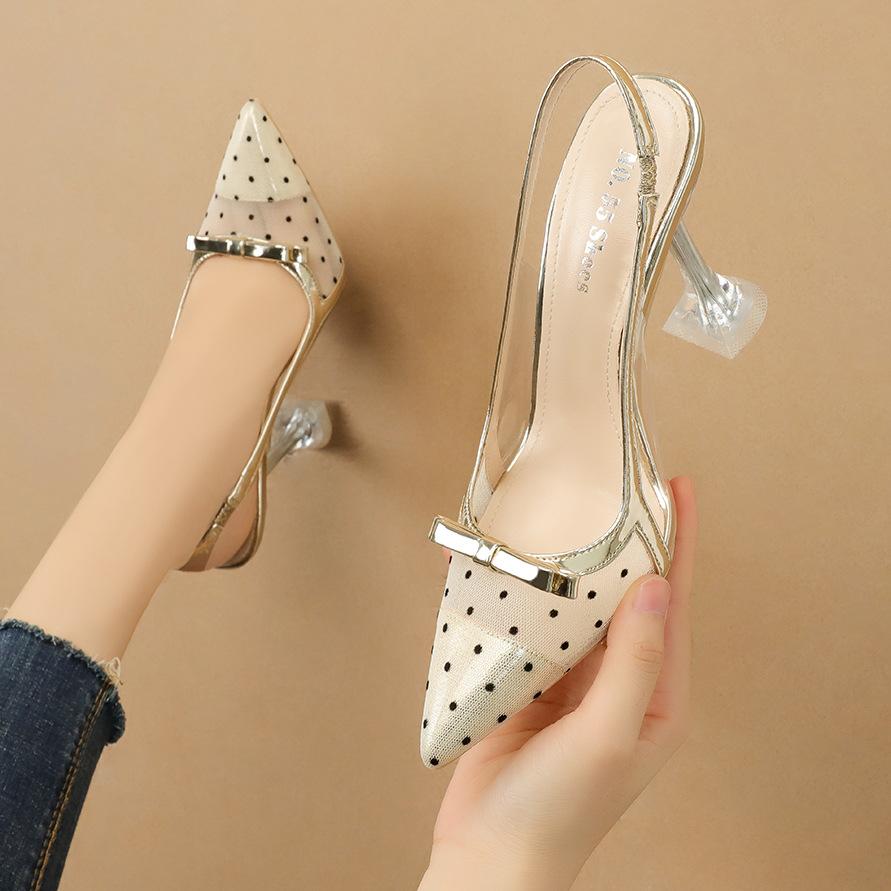 NO.55 Shoes 1020-5 Korean fashion pointed toe polka-dot high heels bow transparent sandals cat heel