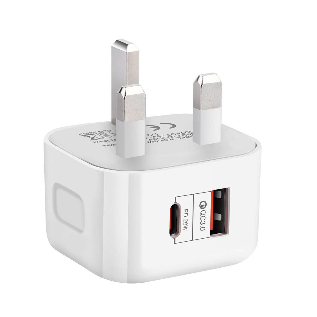 YSC PD charger 20W fast charge charging head Type-c+USB dual port fast charge suitable for Apple Bri