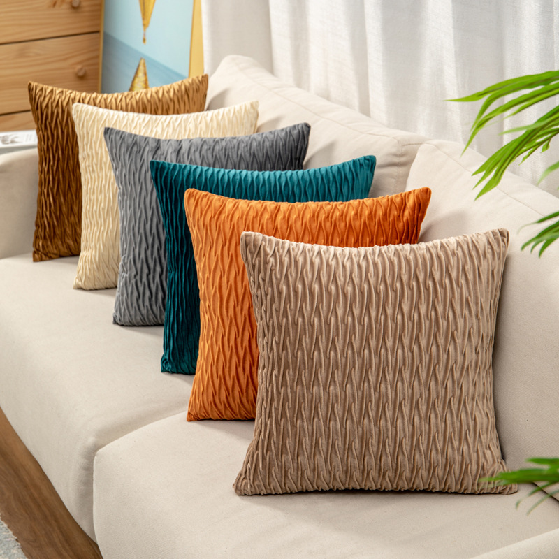 Solid color velvet press pleated pillowcase sofa pillow bedside pillow office back cushion lumbar pi