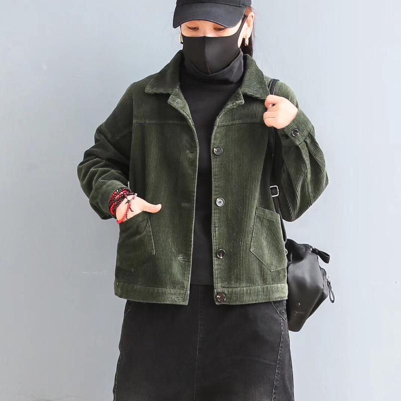 Corduroy short jacket 2021 autumn new loose literary retro jacket female national wind jacket outer