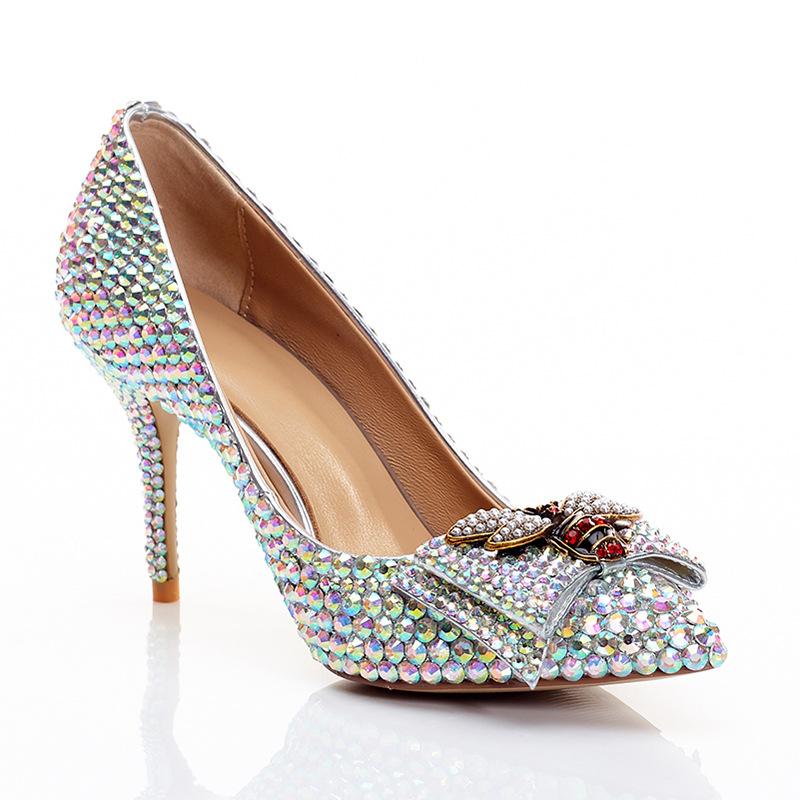 Rhinestone women high heels shallow mouth fashion wedding shoes women princess style bride and bride