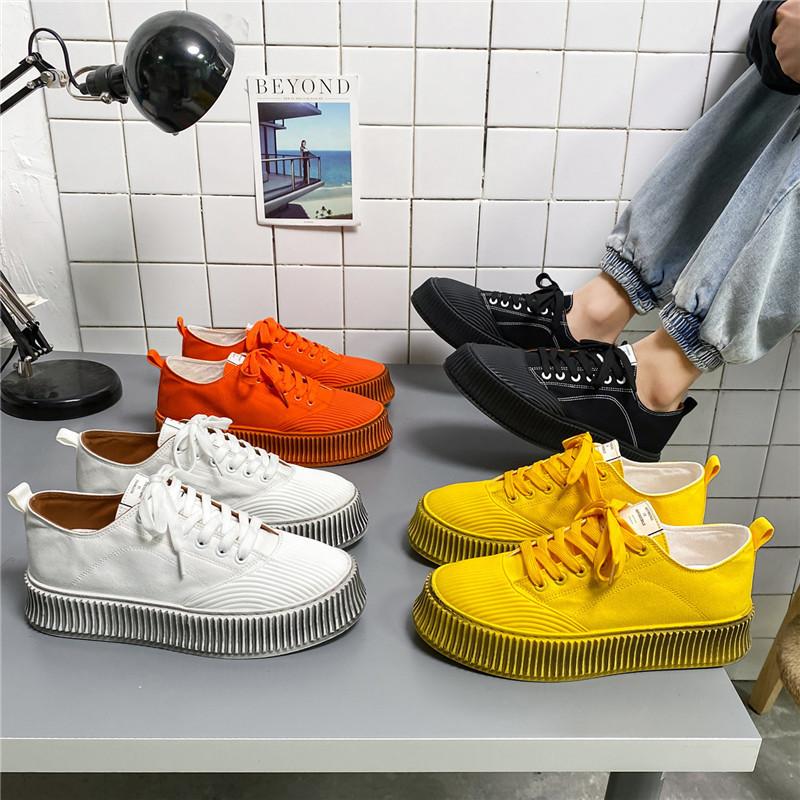 Design niche canvas shoes, men's trend, wild old shoes, men's trendy shoes, summer new thick-soled b