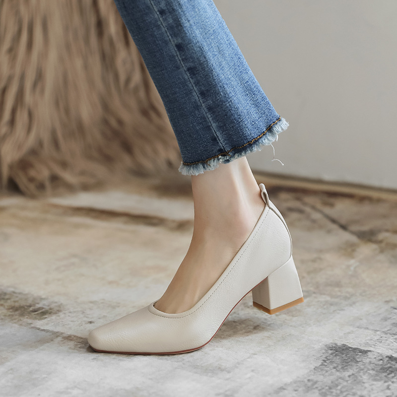 Square toe shoes women 2021 new women's single shoes casual soft shallow mouth granny shoes women t