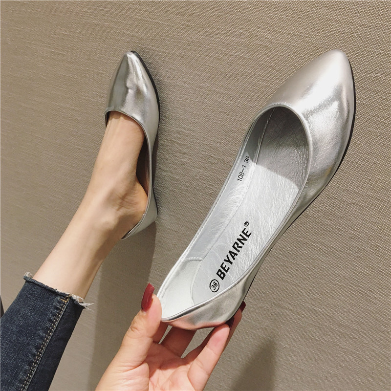 Beyarne new women's shoes shiny soft leather soft sole comfortable boat shoes floating shoes flat s