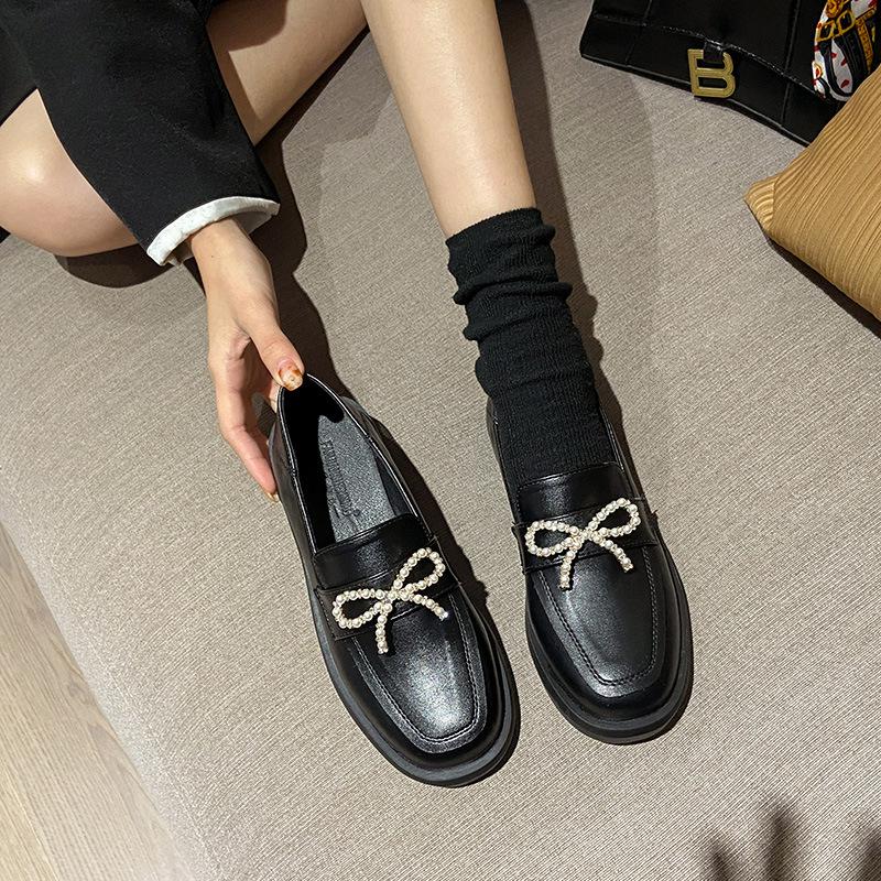 2021 new Japanese small leather shoes female British style flat single shoes black platform loafers