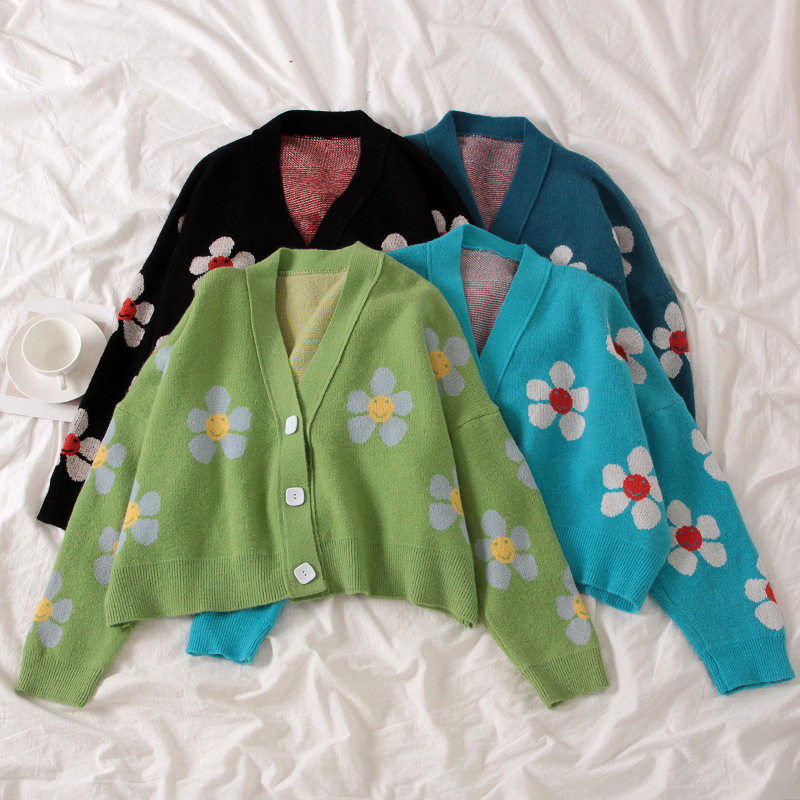 2020 new college style flower knitted jacket loose v-neck spring and autumn sweater cardigan blouse