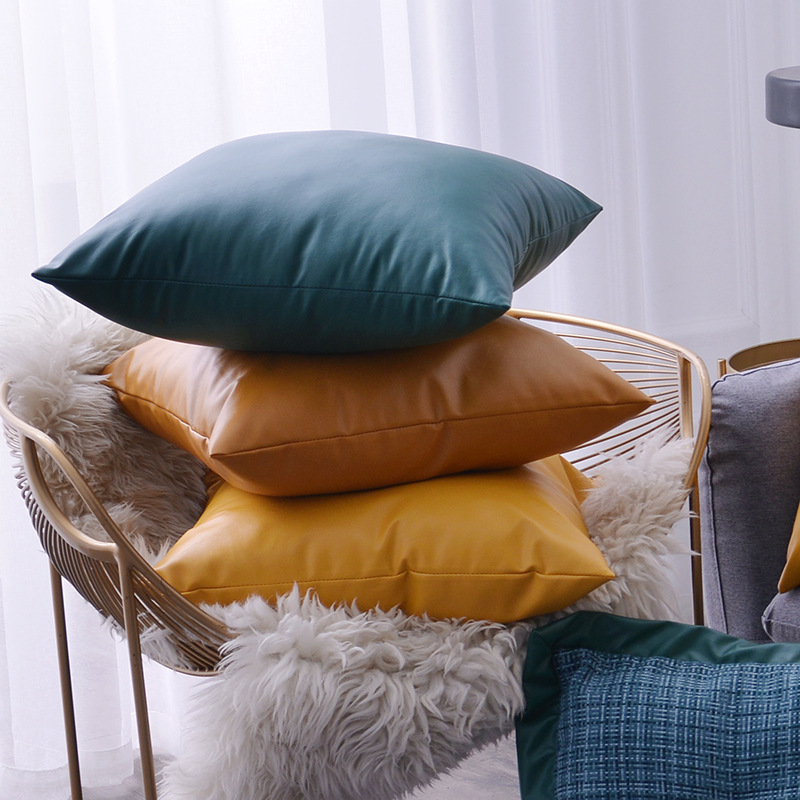 Modern minimalist style PU leather sofa pillow, soft design design pillowcase