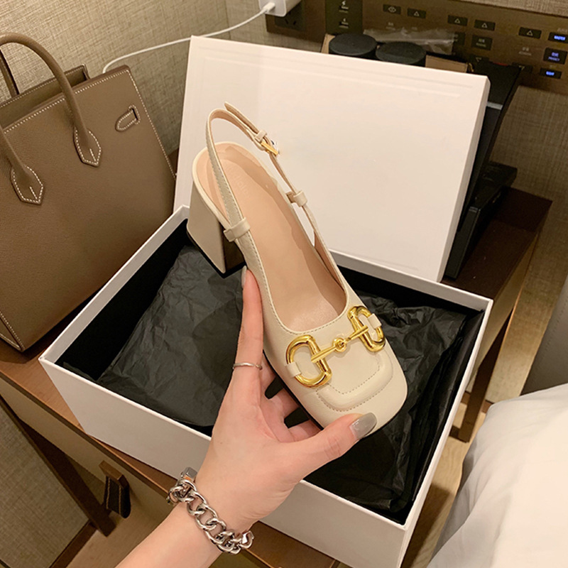 2021 new French horsebit single shoes fashion thick high-heeled small square toe shallow mouth Mary