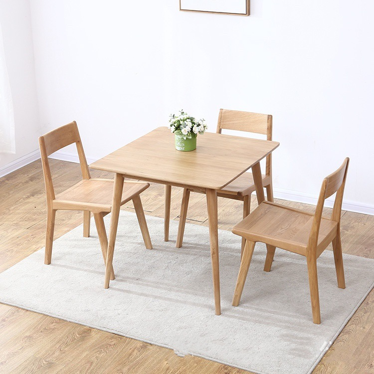 Nordic solid wood dining table square small white oak small apartment dining room furniture combinat