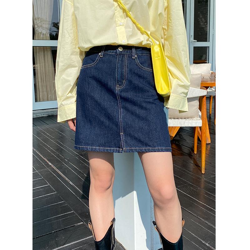 2021 Mulan spring new Korean casual A-line skirt high waist slim skirt female 27089A